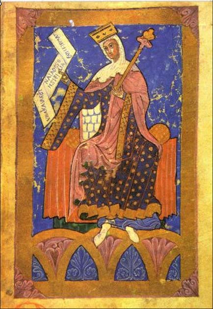Medieval miniature that represents Queen Urraca I of Leon.