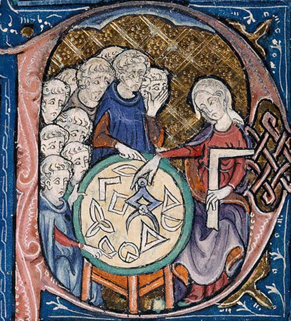 Medieval woman teaching monks geometry. (Public Domain)