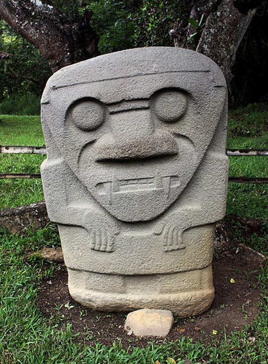 Megalithic stone figure in the San Agustín Archaeological Park.