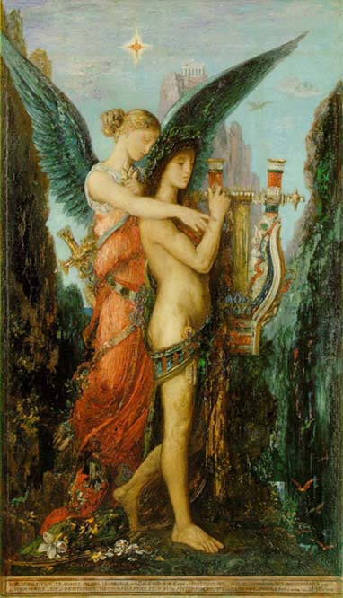 Melpomene in a painting 'Hesiod and the Muse' (1891) by Gustave Moreau. (Public Domain)