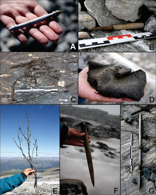Melting glacier has revealed the following artifacts related to clothing and daily life: A) goat or lamb bit?; B) knife; C) shoe; D) mitten; E) leaf-fodder; F) whisk and/or peg; G) distaff? (Glacier Archaeology Program & J. Wildhagen)