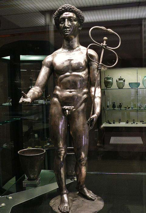 Silver figure of the Roman god Mercury from the treasure.
