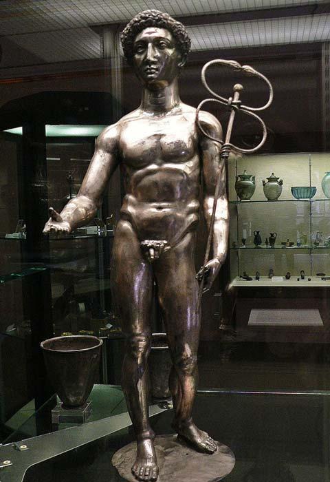Silver figure of the Roman god Mercury from the treasure.