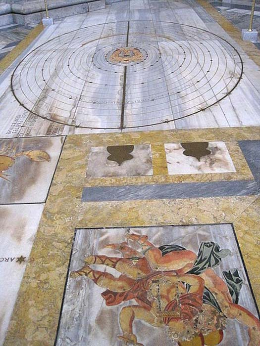 Meridian solar line of the Basilica Santa Maria degli Angeli e dei Martiri in Rome built by Francesco Bianchini (1702)