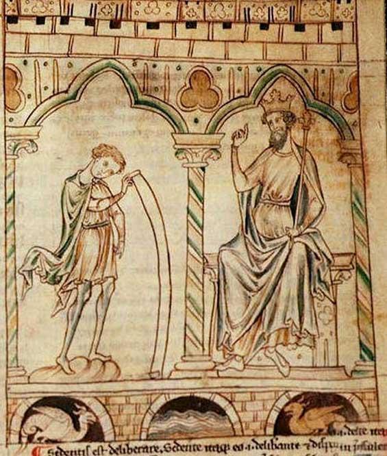 Merlin reads his prophecies to King Vortigern. (Public Domain)
