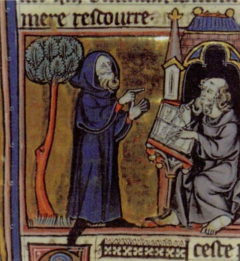 Merlin reciting his poem in a 13th-century illustration for 'Merlin' by Robert de Boron