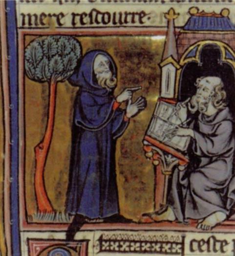 Merlin recitando su poema en una ilustración del siglo 13 para 'Merlin' de Robert de Boron