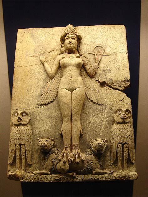 "Queen of the Night Relief showing just one of the ""ghosts"" that guarded the sleeping and the living in ancient Mesopotamia. (Public Domain)"