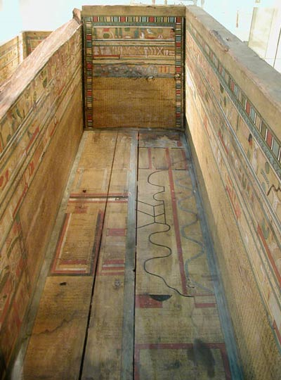 Middle Kingdom sarcophagus with Coffin Texts and a map of the underworld painted on its panels