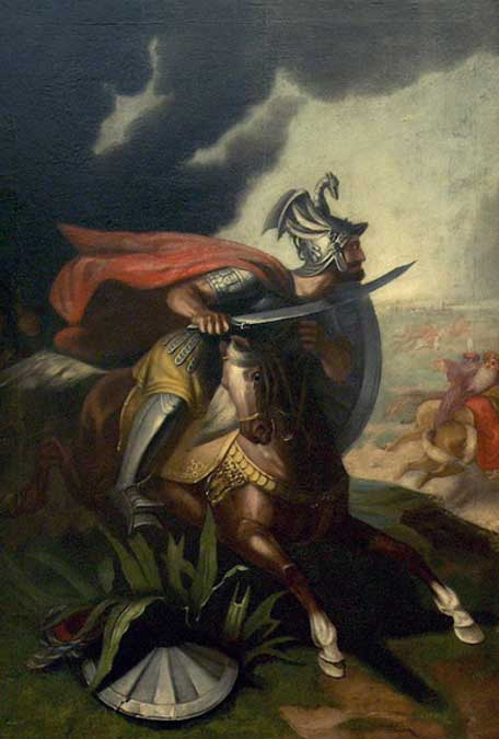 Miloš Obilić, a Serbian knight that allegedly stabbed Sultan Murad I during the Battle of Kosovo in 1389. (1861) by Aleksandar Dobrić. Belgrade National Museum.