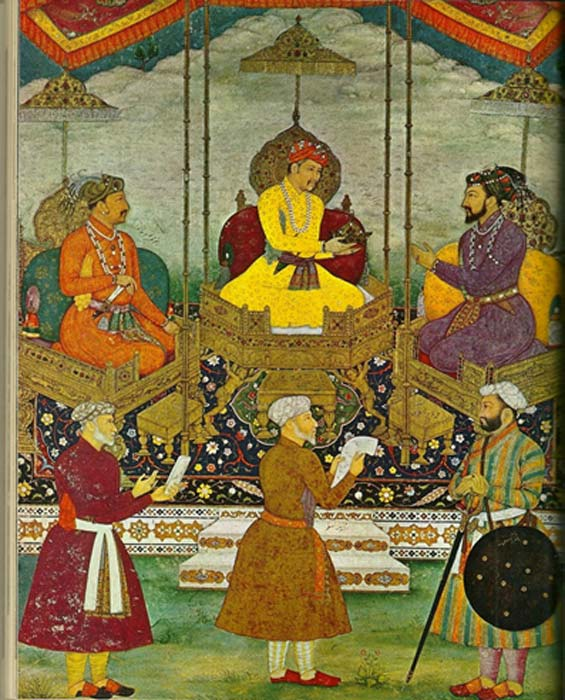 Miniature painting by Bitchitr from around 1630 - now at the Chester Beatty Library, Dublin. It depicts three of the most important emperors of the Mughal Period: Akbar is in the center, his son, Jahangir, is to his right, and his grandson, Shah Jahan, is to his left. The painting was commissioned by Shah Jahan, the builder of the Taj Mahal. (Nathan Hughes Hamilton/CC BY 2.0)