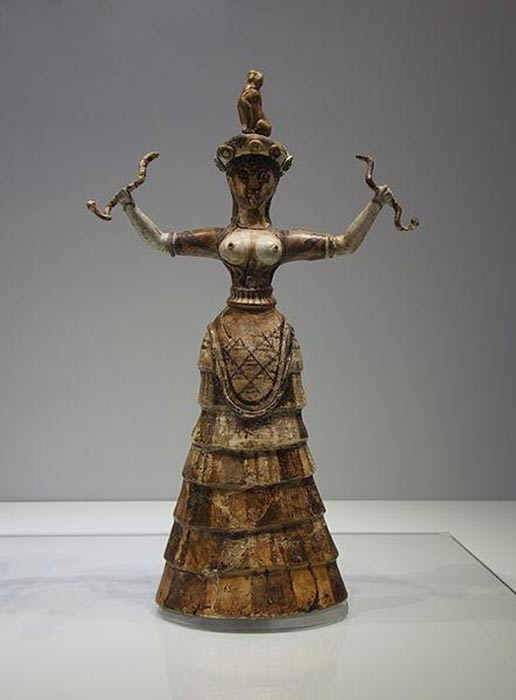 Statue of a Minoan snake goddess or priestess.