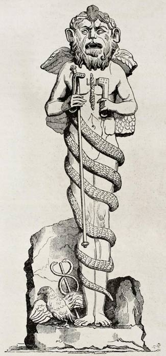 Mithra divinity statue in Vatican library, old illustration. By unidentified author, published on Magasin Pittoresque, Paris, 1840. (BigStockPhoto)