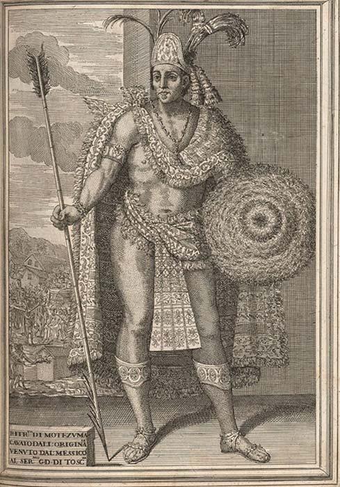 Moctezuma II, from Historia de la conquista de México by Antonio de Solis