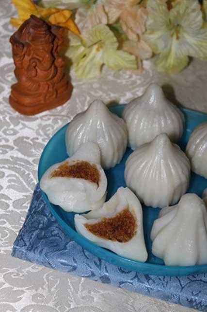 Modakas, sacrificial cakes, made with coconut and jaggery