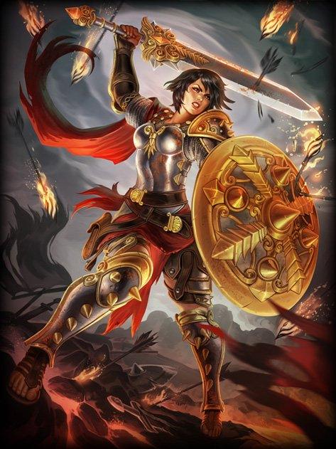 Modern representation of Bellona, without the plumed helmet. (CC BY SA)