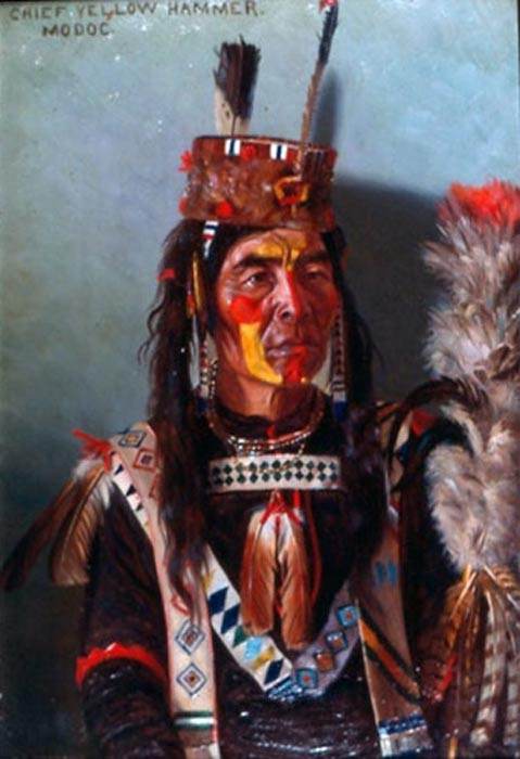 The Modoc are a Native American people who originally lived in the Mount Shasta area (northeastern California and central Southern Oregon, USA). Chief Yellow Hammer painted in traditional clothing by E.A Burbank, 1901.