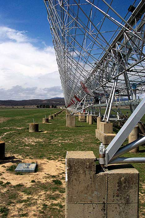 A close-up view of the Molonglo Observatory Synthesis Telescope.