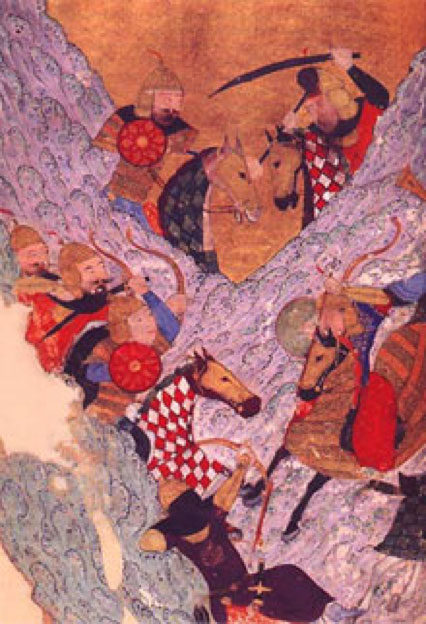 Mongol cavalry vs the Jin army in the mountains. (Public Domain)