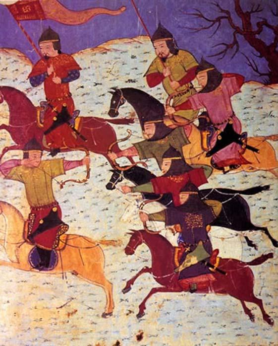 Mongol cavalrymen.