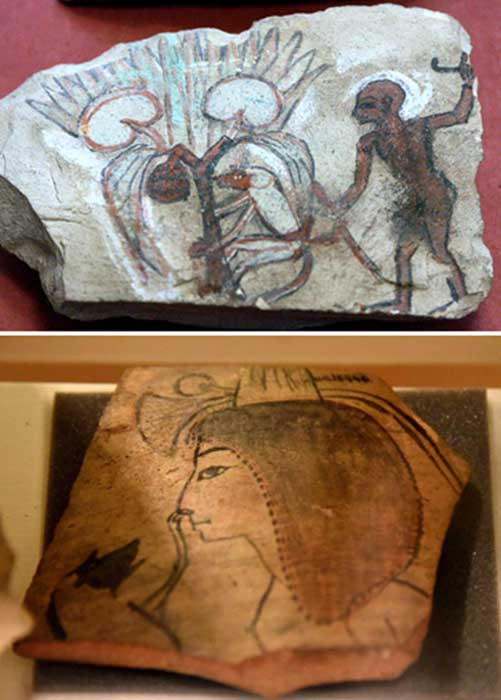 Top: Monkey climbing in a fruited-palm tree, and master(?) Bottom: Pottery shard showing a monkey scratching a girl's nose. 20th Dynasty.