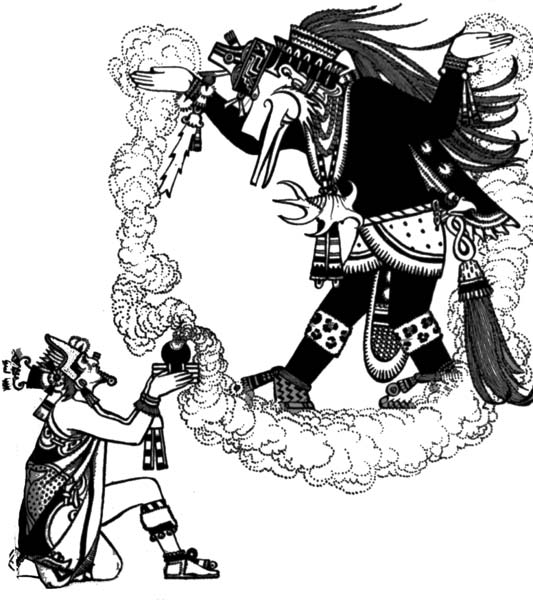 Montezuma offering incense to Quetzalcoatl.