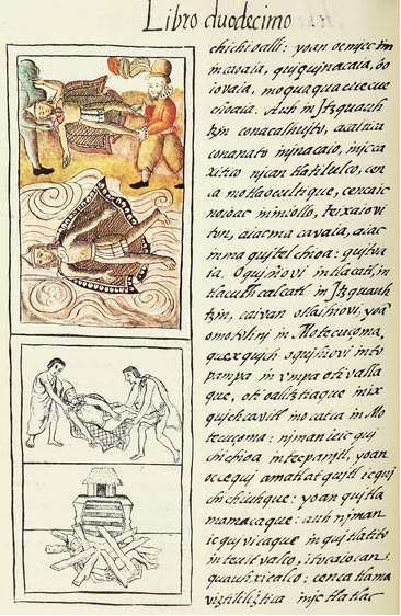 Montezuma's death and cremation from the Florentine Codex. (c. 1540-1585)