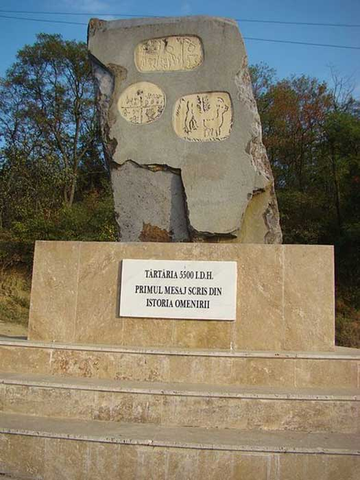 Monument for the Neolithic Tărtăria tablets discovered in 1961 at Tărtăria, Alba County, Romania.