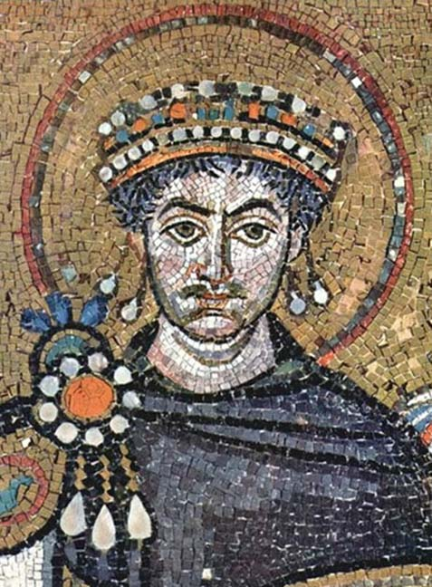 Mosaic of Justinian I in the Basilica of San Vitale, Ravenna.