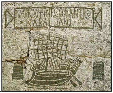 Mosaic representing a ship arriving in the ancient Roman port of Ostia.