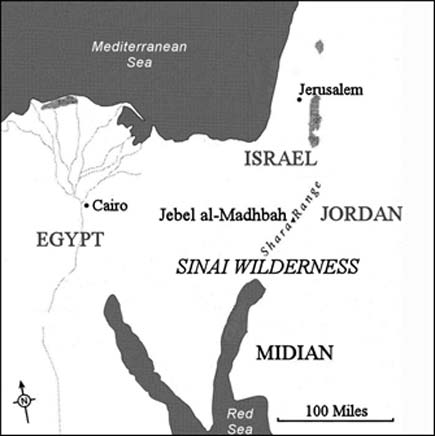 Map showing the locations of Midian, the Sinai Wilderness, and Jebel al-Madhbah.