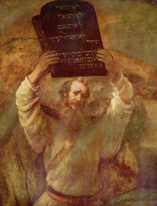 Moses holding the tablets of the law (1659) by Rembrandt.