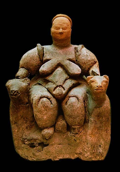 Figurine of a seated Mother Goddess flanked by two lionesses found at Çatalhöyük, Turkey (about 6000-5500 BC), Museum of Anatolian Civilizations in Ankara.