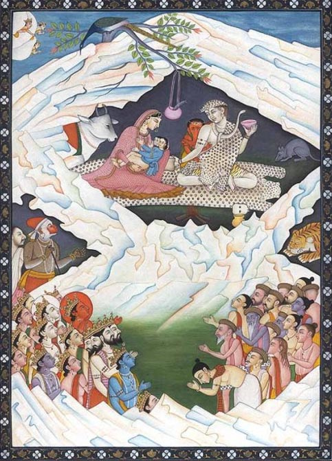An illustration of the Hindu significance of Mount Kailash, depicting the holy family of Shiva, consisting of Shiva, Parvati, Ganesha and Kartikeya (Muruga).