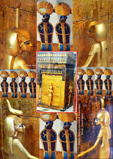 Mounted on a sled, the large gilded shrine found in the KV62 Treasury contained the embalmed organs of Tutankhamun within a calcite canopic chest. Between the posts, on each of the four sides of this monument, stood an elegant guardian goddess of gilded wood – Isis, Nephthys, Neith and Serket – with outstretched arms. Some scholars have postulated that these exquisite figures represent Ankhesenamun; but this cannot be ascertained. Egyptian Museum, Cairo.