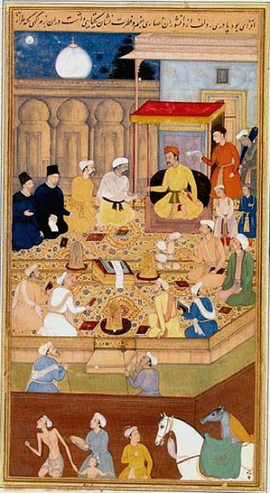Mughal Emperor Akbar (r. 1556-1605) holds a religious assembly in the Ibadat Khana (House of Worship) in Fatehpur Sikri; the two men dressed in black are the Jesuit missionaries Rodolfo Acquaviva and Francisco Henriques. (Public Domain)