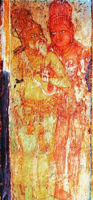 Mural depicting Raja and his guru Karuvuruvar found in the Brihadeesvara temple, Tamil Nadu, 11th century. (Public Domain)