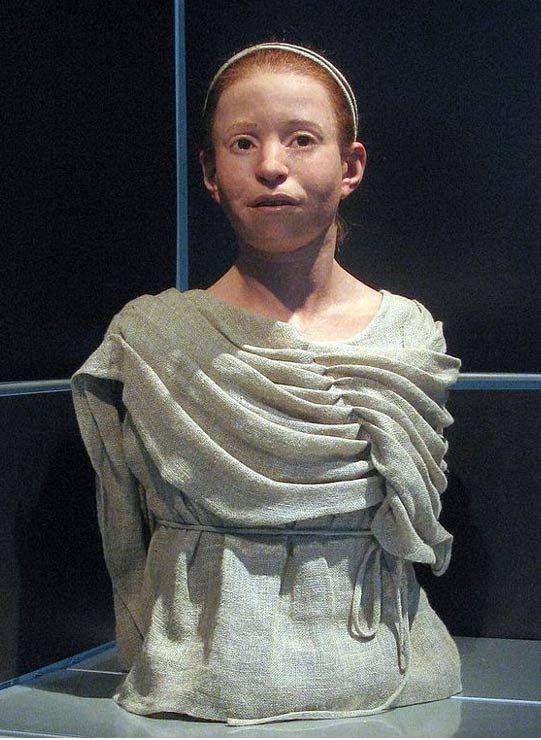 Α reconstructed appearance of Myrtis, an 11 year old girl who died during the plague of Athens and whose skeleton was found in the Kerameikos mass grave, National Archaeological Museum of Athens