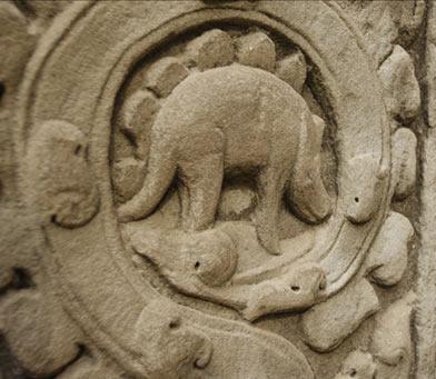Mysterious dinosaur relief