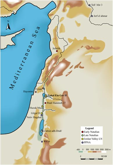 Location of the 12,000 year old site Nahal Ein Gev II (NEG II) in the Southern Levant.