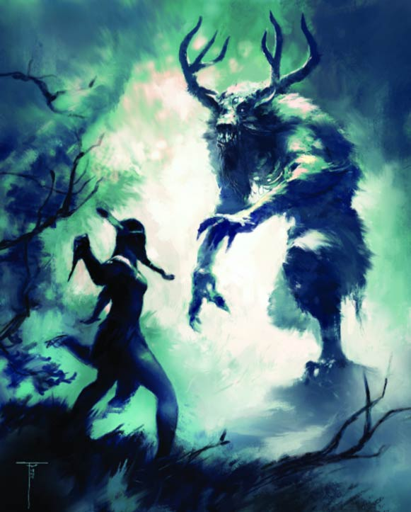 A Native American woman fighting against a Windigo.