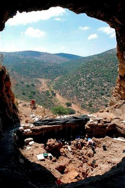 Natufian archaeological excavation site in Hilazon Tachtit, in the Galilee area of northern Israel, where archeologists found the 12,000-year-old skeleton of a female shaman.
