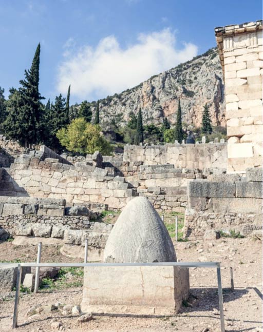 Navel of the world at the Temple of Apollo, Delphi, Greece.