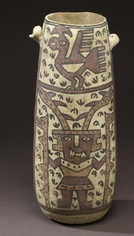 Naylamp, the mythical founder of the Layambeque or Sican culture, is shown on this vessel.