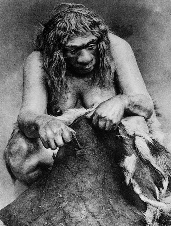 Restoration of a Neanderthal woman cleaning a reindeer skin.