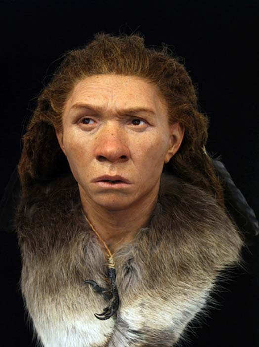 Neanderthal woman at the Reconstruction Exhibition. (Royal Pavilion & Museums; Brighton & Hove)