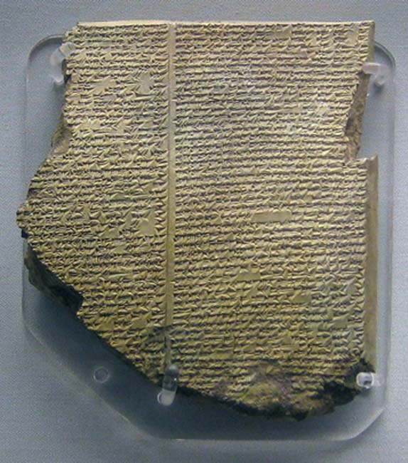 "Neo-Assyrian clay tablet. Epic of Gilgamesh, Tablet 11: Story of the Flood. Known as the ""Flood Tablet"" From the Library of Ashurbanipal, 7th century BC."