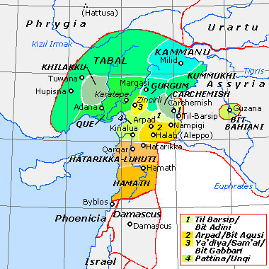 Historical map of the Neo-Hittite states