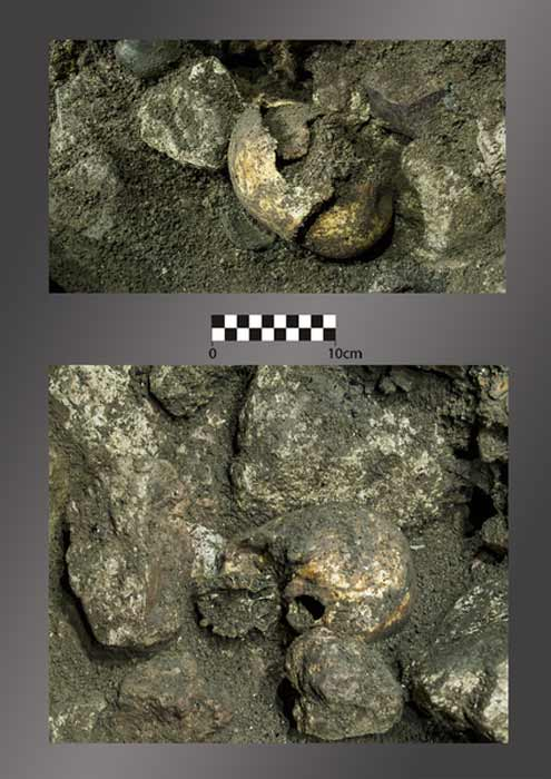 The two Neolithic age skulls as they were discovered in the southern Spanish cave. (PLOS ONE)