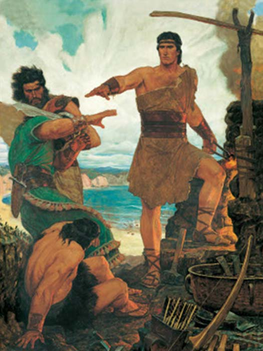 'Nephi Subdues his Rebellious Elder Brothers' (followers of Nephi were the Nephites, followers of his brothers Laman and Lemuel were the Lamanites). (MormonWiki)